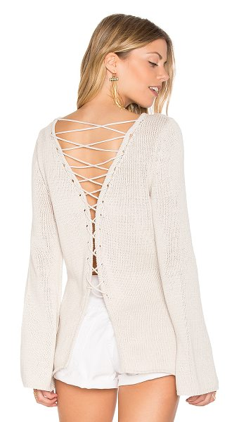 Central Park West Galveston Cross Back Sweater in stone - 100% cotton. Dry clean only. Knit fabric. Split back...