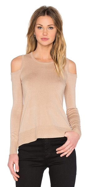 Central Park West Provence cold shoulder sweater in tan - 77% rayon 23% nylon. Dry clean only. Shoulder cut-outs....
