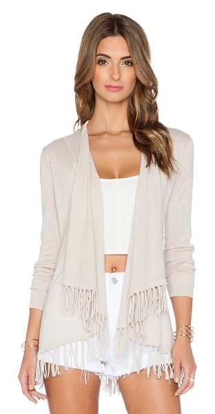 Central Park West Sardinia fringe cardigan in beige - 55% ramie 45% cotton. Dry clean only. Open front. Fringe...