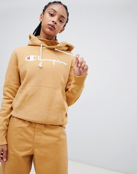 Champion boyfriend hoodie with front script embroidered logo in tan - Hoodie  by Champion, No 5e38eec636b9