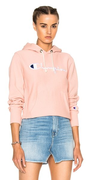 Champion Classic Hoodie in pink - 90% cotton 10% poly. Made in Turkey. Machine wash. Front...