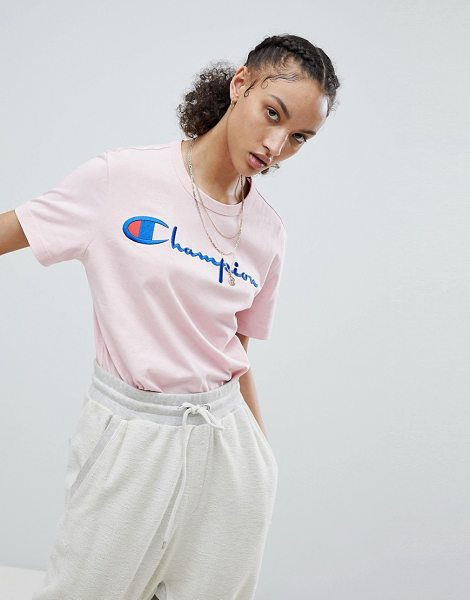 Champion Crewneck T-Shirt With Script Logo in pink
