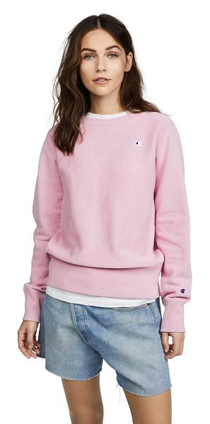 Champion Premium Reverse Weave reverse weave terry crew neck sweater in mauve - Fabric: French terry Embroidered logo patch Ribbed trim...