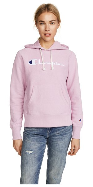 Champion Premium Reverse Weave reverse weave terry hoodie in mauve - Fabric: Fleece Embroidered logo detailing Ribbed trim...