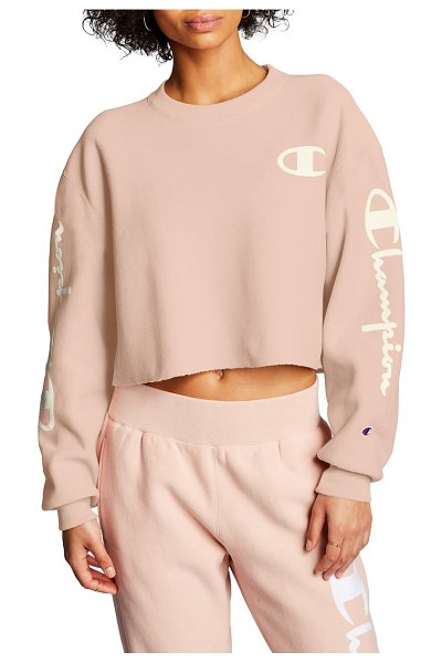 Champion reverse weave crop sweatshirt in spiced almond pink