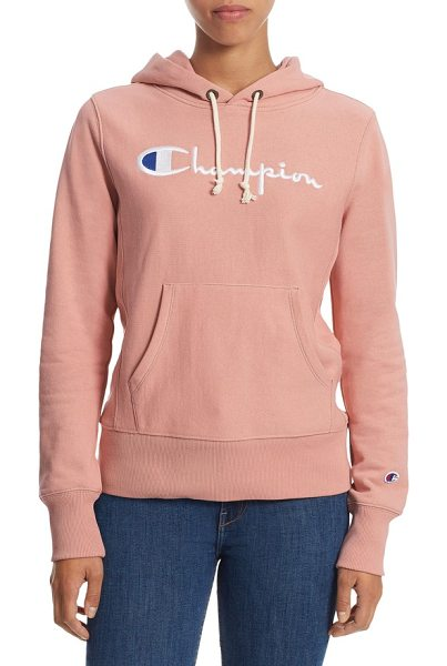 Champion reverse weave pullover hoodie in pink bow - Keep comfortable in this heavyweight fleece sweatshirt...