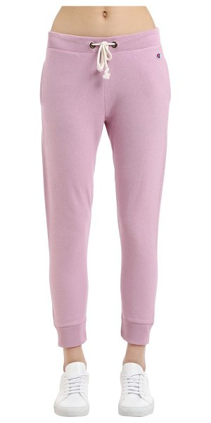 Champion Small logo french terry sweatpants in pink - Elastic waistband with drawstring. Ribbed cuffs at hem....