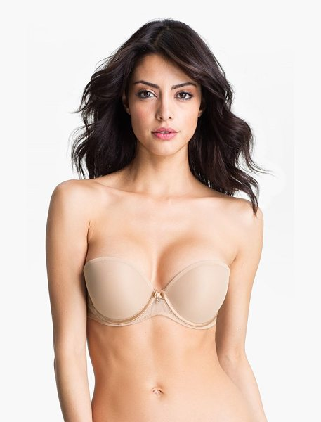 Chantelle sublime convertible strapless bra in nude - A crystal embellishment accents the plunging front of a...