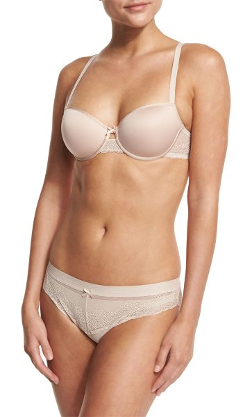"Chantelle Le Marais Smooth Custom-Fit Bra in cappuccino - Chantelle ""Le Marais"" T-shirt bra with lace back. Memory..."