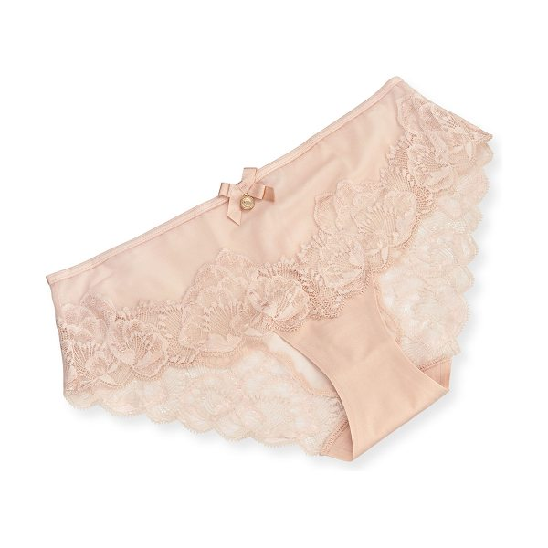 "Chantelle Orangerie Lace-Trim Hipster Briefs in skin rose - Chantelle ""Orangerie"" hipster in semisheer mesh and..."