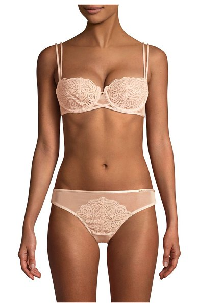 Chantelle pyramide lace demi unlined bra in nude blush