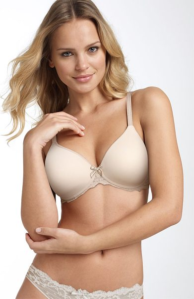 Chantelle 'rive gauche 3286' full coverage underwire t-shirt bra in cappucino - Scalloped lace and delicate, dotted straps update an...