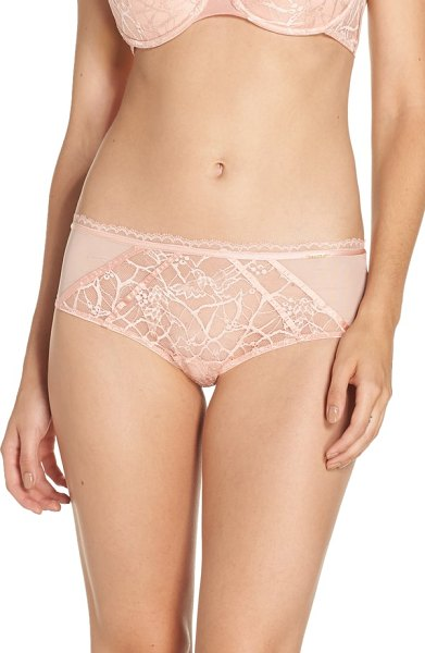 Chantelle segur lace hipster briefs in coral - Smooth satin trim brings retro glamour to cheeky hipster...