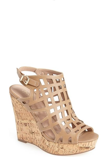 Charles by Charles David affluent cage sandal in nude - An open-toe cage sandal set on a bold cork wedge...
