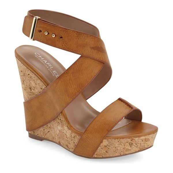 CHARLES BY CHARLES DAVID arlington wedge sandal - Supple faux-leather straps wrap the earthy cork wedge of...