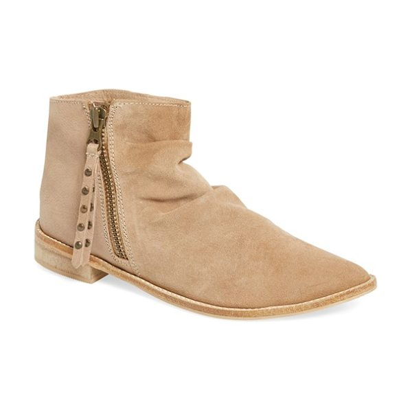 Charles by Charles David brody slouchy bootie in sand leather - Studded pulls detail the exposed side-zip closure of a...