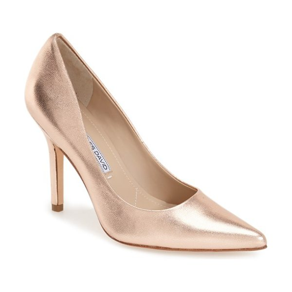 Charles by Charles David Charles david sway ii patent leather pump in rose gold metallic leather - High-gloss patent leather shapes the timeless lines of...