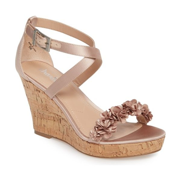 Charles by Charles David lauryn wedge sandal in nude satin - Pretty flowers bloom at the strap of a striking sandal...