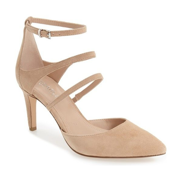 Charles by Charles David 'lena' pointy toe strappy pump in nude suede - Three petite straps ladder up the front of this...