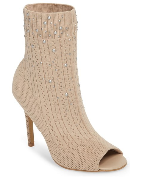 Charles by Charles David peep toe sock bootie in nude fabric - Mixed dome studs scatter across the sock-knit shaft of a...
