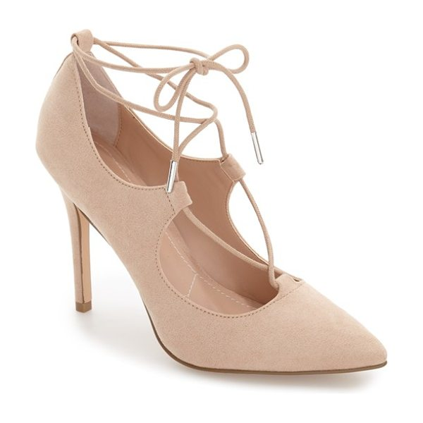 Charles by Charles David pierogi lace up pump in nude microsuede - A pointy-toe pump exudes uptown sophistication in lush...