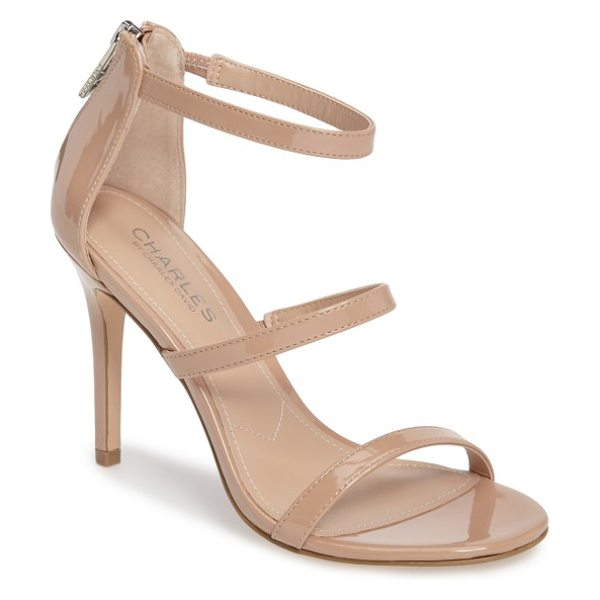 Charles by Charles David ria strappy sandal in nude patent leather - A trio of slender straps ladders up the front of a...