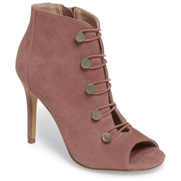 Charles by Charles David royalty bootie in dark mauve suede - Elasticized hook-and-eye details define a chic,...