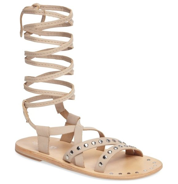 Charles by Charles David steeler ankle wrap sandal in nude leather - Studded asymmetrical straps add moto appeal to a flat...