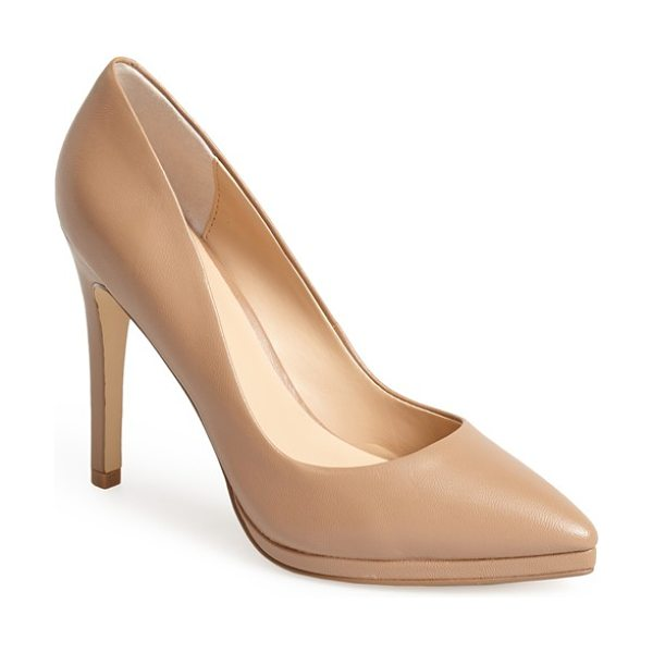 Charles by Charles David plateau platform pump in nude leather - A pitch-reducing platform and pointy-toe design makes...