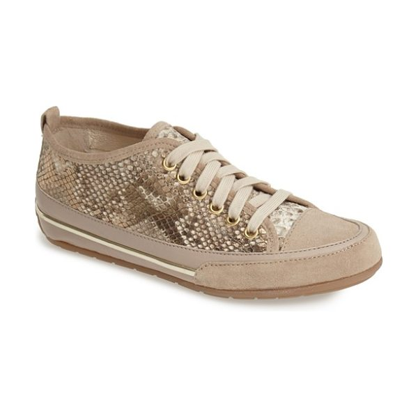 Charles David aria snake embossed sneaker in gold - Dramatic snake embossing plays up the street-savvy...