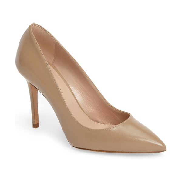 Charles David charles by  genesis pointy toe pump in nude leather - A classic pointy-toe silhouette makes this streamlined...