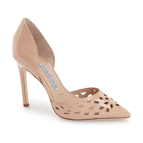 Charles David contessa perforated dorsay pump in nude patent - Geometric perforations accent the pointed toe of a...