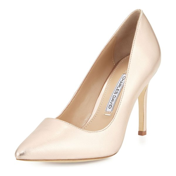 "Charles David Donnie Pointed-Toe Pump in rosegold - Charles David leather pump. 3.5"" covered heel. Pointed..."