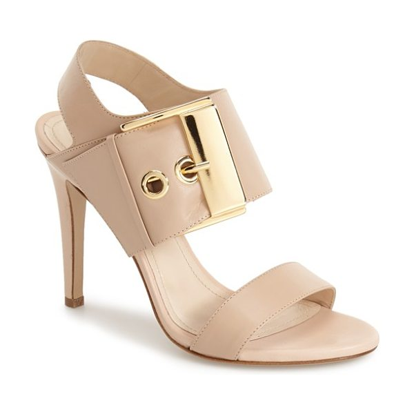 Charles David evana sandal in nude leather - An oversized buckle strap adds bold, contemporary flair...