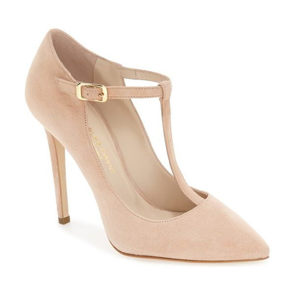 Charles David lara t-strap pointy toe pump in nude suede - This essential pump in luxe suede gives a...