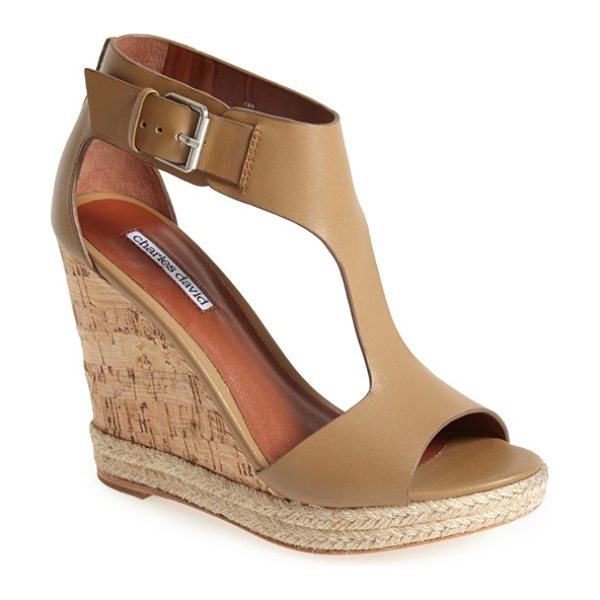 CHARLES DAVID olivia wedge sandal - Braided rope trim and a cork wedge put a casual twist on...