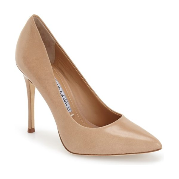 Charles David rebecca pointy toe pump in nude leather - A sophisticated, pair-with-anything pump in a classic...