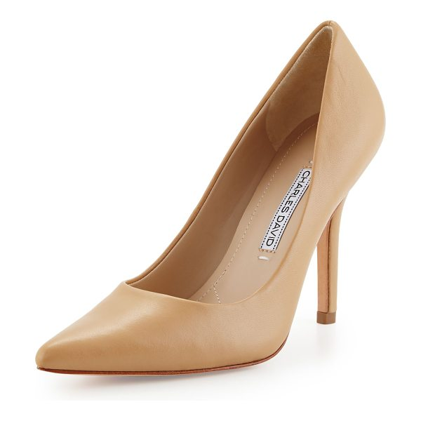 "CHARLES DAVID Sway ii leather pointed-toe pump in camel - Charles David leather pump. 4"" covered heel. Pointed..."