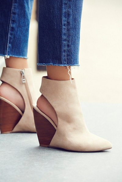 Charles David West coast wedge in nude - Sleek and chic suede wedges with a cutout detail in back...