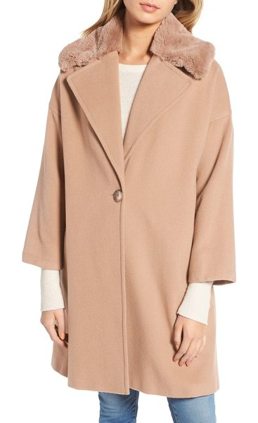 CHARLES GRAY LONDON faux fur collar overcoat - A cashmere-softened wool blend lays the decadent...