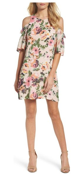 Charles Henry cold shoulder shift dress in pink floral - Romantic blooms soften the cold-shoulder silhouette of a...