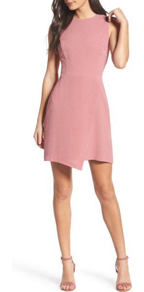 Charles Henry faux wrap dress in mauve - A faux-wrap front takes an unexpected dip at the hem of...