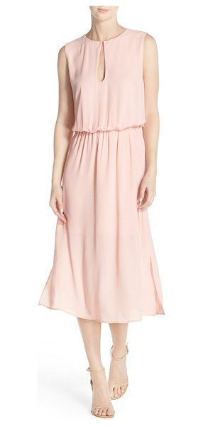 Charles Henry keyhole midi dress in peach - Pretty pleats flow from the fitted, gathered waist on an...