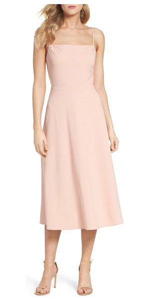 Charles Henry midi dress in powder blush - A fit-and-flare looks simply chic with a square neck,...