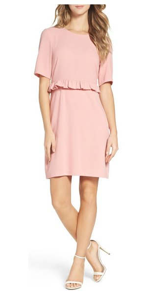 Charles Henry ruffle crepe sheath dress in blush - Crisp crepe polishes the pencil-cut silhouette of a...