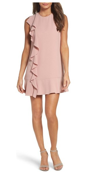 Charles Henry ruffle shift dress in blush - Fresh and chic, this crepe shift with a cascading ruffle...