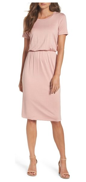 Charles Henry t-shirt dress in blush - A slinky T-shirt dress cinched in at the waist for a...