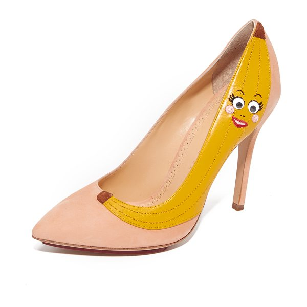 Charlotte Olympia banana pumps in blush/yellow - A googly-eyed banana adds a playful charm to these suede...