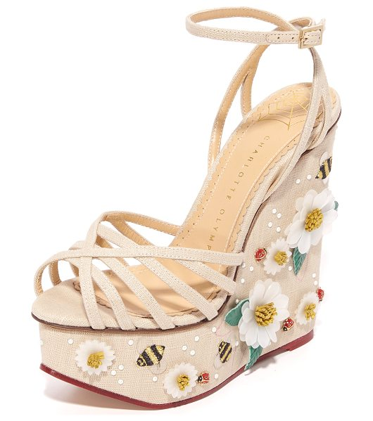 Charlotte Olympia floral meredith sandal wedges in natural - Floral appliqués and tiny ladybugs compose a charming...