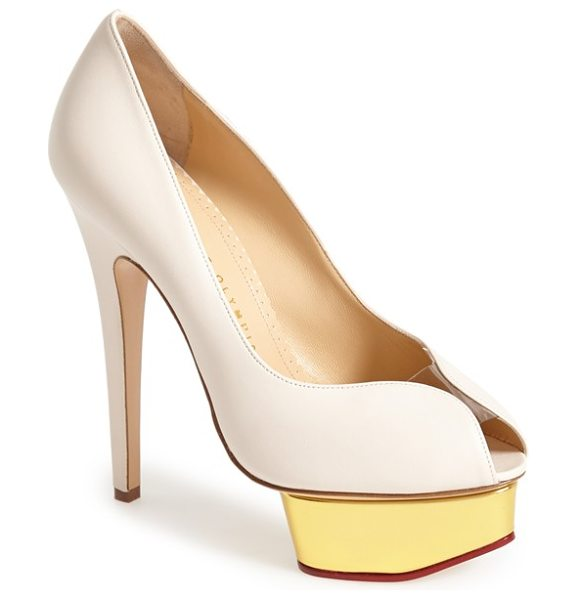Charlotte Olympia daphne peep toe platform pump in powder leather - A transparent inset bridges the open toe of a soaring...